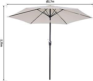Outsunny Parasol inclinable de Jardin Balcon terrasse manivelle Toile Polyester imperméabilisée Haute densité 180 g/m² Ø2,7 x 2,35H m alu crème