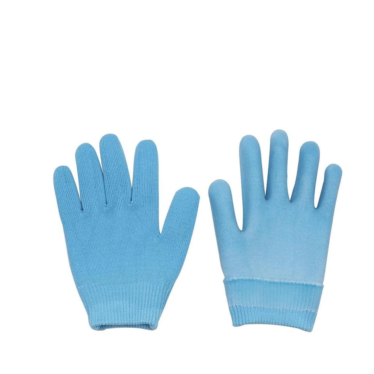 キャプテンブライ隔離する栄光Lovoski 保湿手袋 おやすみ手袋 手袋 手湿疹 乾燥防止 手荒れ 保湿 スキンケア  メンズ レディース 全3色選べ - ブルー