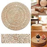 Chytaii - Cojín de suelo, diseño de paja, redondo, puf de ratán, hecho a mano, alfombra de yoga, decoración para salón de jardín (6 cm, 40 x 40 cm)