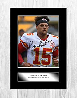 Engravia Digital Patrick Mahomes (2) NFL Kansas City Chiefs A4 Poster with Reproduction Autograph Picture Photo A4 Print(Unframed)