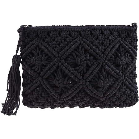 TENDYCOCO Stroh Clutch mit Quaste gewebt Handtasche Sommer Strand Handtasche handgefertigt für Frauen
