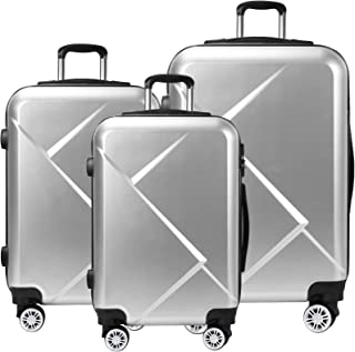 Tiktun 3 Piece Luggage Sets with Hardside Expandable Spinner Wheel (20/24/28), Silver