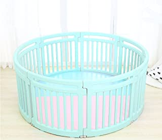 IVNZEI Baby Playpen Kids Activity Centre Safety Play Yard Indoor Outdoor Round Panel With Two-color Floor Mat  Color Blue