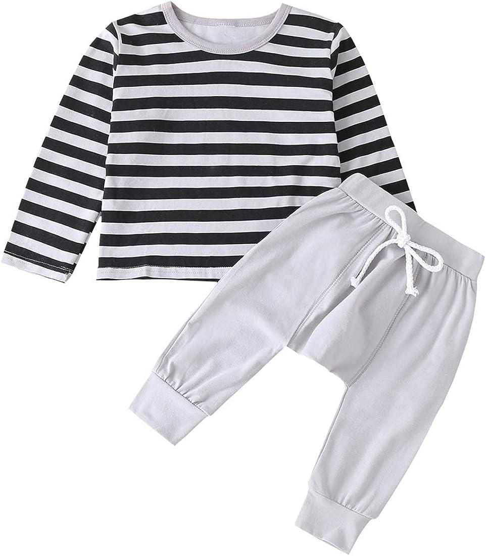 Kids Toddler Baby Boys Pajamas Striped T Shirt Tops Harem Pants Set Fall Clothes Outfits