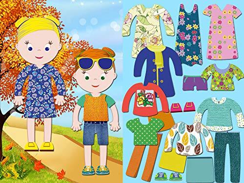 BeCrea Spielset Serie Little Fashionista`s Magnetische Anziehpuppen x 2 mit 28 Kleidungsstücken (Isabella and Sophia)