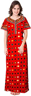 jwf Women's Cotton Jaipuri Floral Print Maxi Long Dresses (Multicolour, Free Size)