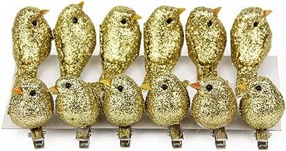 12pcs Glitter Artificial Simulation Foam Bird Feather Mini Cute Birds Ornaments DIY Craft for Christmas Tree Wedding Decoration Home Garden Party Accessories Metal Clip 5.2cm/2.04inch (Gold)