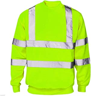 Mens HIGH VIS Reflective Workwear Hoodie Long Sleeve High Viz Sweatshirt Pullover Striped Zip Up Safety Jacket Work Wear T...