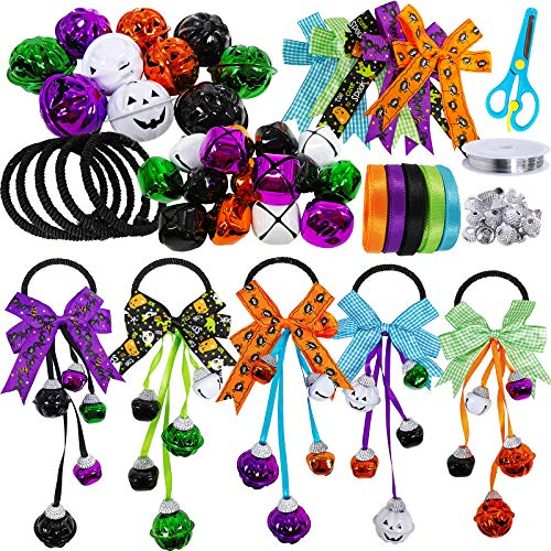 5 Sets Halloween Jingle Bells Wreath Door Hanger Ornaments Craft Kit DIY Jack-O'-Lantern Pumpkins Jingle Bells Assortment for Kids Artwork Trick-Or-Treaters Favors Door Tree Decoration
