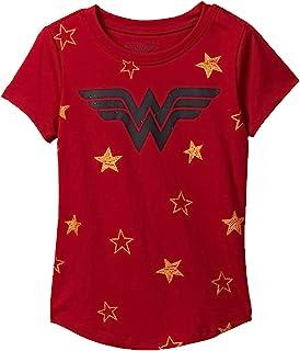 Girls T-Shirt Wonder Woman Logo & Stars Print