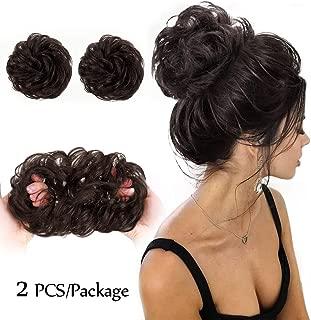 Messy Bun Hair Piece 2PCS 100% Human Hair Scrunchies for Women Hair Buns Hair Pieces for Women Curly Wavy Bun Elegant Chignons Wedding(Color:Natural Color)