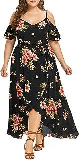 Plus Size Elegante Damen Frauen Casual Kurzarm Kalt Schulter Boho Blumendruck Casual Täglichen Party Strand Langes Kleid Schulterfrei Strandkleid