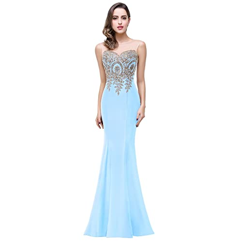 13ae4cceb29 Babyonline Mermaid Evening Dress for Women Formal Lace Appliques Long Prom  Dress