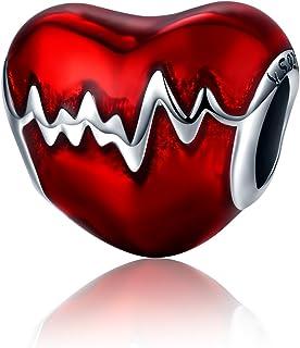 XingYue 925 Sterling Silver Heartbeat Charm Bead Red Enamel Love Heart Charm Love in My Heart