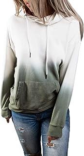 HAVANSIDY Womens Pullover Tie-Dye Color Block Drawstring Hoodies with Kangaroo Pockets