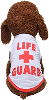 Glumes Life+Guard Printed Pet Clothes Pet T-Shirt, Dog Summer Apparel Puppy Pet Costume Summer Vest for Small Dogs Tank Tops Dogs Summer Shirt Soft Sweatshirt