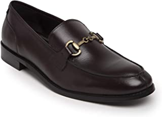 HATS OFF ACCESSORIES Genuine Leather Burgundy Loafers with Metallic Buckle
