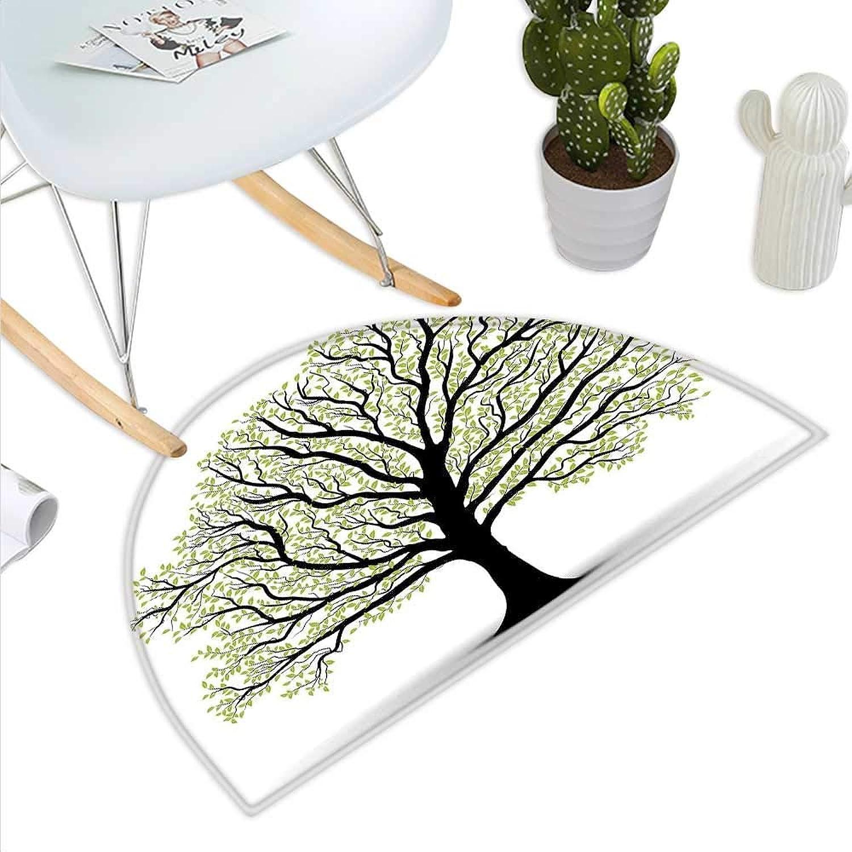 Doormat Semicircle Life of Tree Big Nature Green White Black