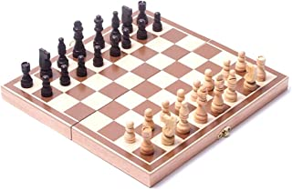 Chess Board Set Portable Chess Sets for Adults Teens Wooden Folding Classic Board Game Interior Storage Space for Home Tra...