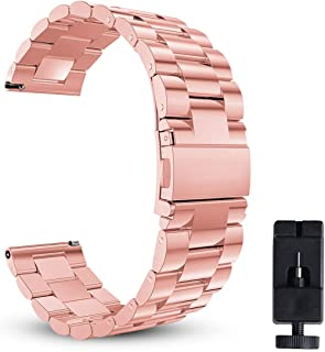 18mm 20mm 22mm Watch Band, Eontry Quick Release Stainless Steel Replacement Wrist Band Strap Link Bracelet with Folding Clasp for Men's Women's Watch (Rose Gold, 22mm)