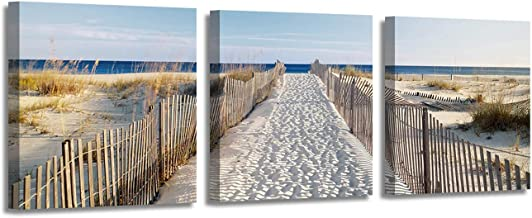 Coastal Picture Beach Artwork Prints: Seaside Path Painting Wall Art Picture on Canvas for Office Bedroom (12'' x 12'' x 3 Panels)