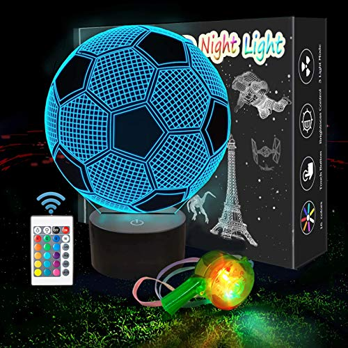 SCRENDY Football 3D Night Lights, 3D Illusion Lamp 16 Color Changing Touch Table Desk Lamp for Kids Bedroom with Remote-Birthday Gifts for Baby Children and Adult (with Whistle)