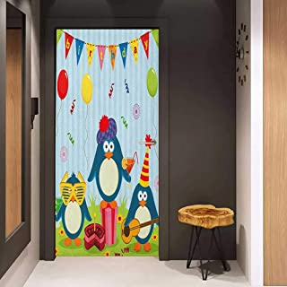 Onefzc Glass Door Sticker Decals Kids Birthday Cartoon Style Penguin Party with Flags Cakes and Surprise Box Door Mural Free Sticker W30 x H80 Pale Blue and Fern Green