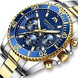 Montre Homme Montres Bracelets Etanche Design Chronographe Lumineuses Montres en Acier Inoxydable Or Grand Cadran Bleu...