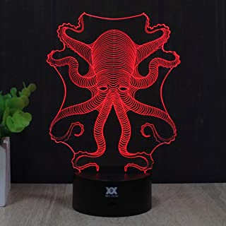 Octopus Gift Ideas Night Lights 3D Illusion Lamp Animal Light Led Desk Lamps Unique Anniversary Gifts for Baby Home Decor Office Bedroom Wedding Party Decorations Nursery Lighting 7 Color (octopus)