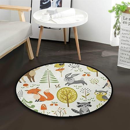 Mnsruu Tapis rond pour salon, chambre à coucher, 92 cm de diamètre