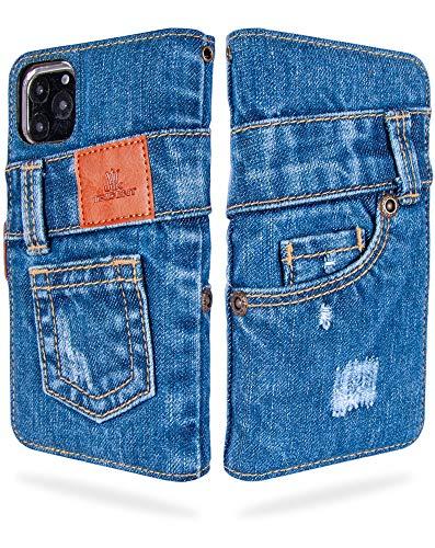 UK Trident 本格デニム iPhone 11 Pro Max 手帳型アイフォンケース(アイフォン11プロマックスケース)