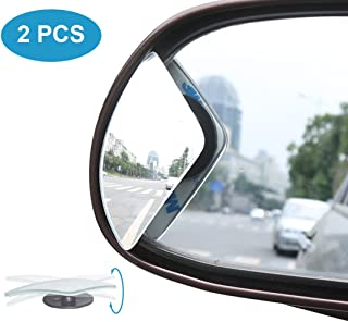 Blind Spot Mirror, Car Side Mirror HD Glass Frameless Convex Rear View Mirror Adjustable Auto Blindspot Mirror for Wide Angle View, Stick On Design