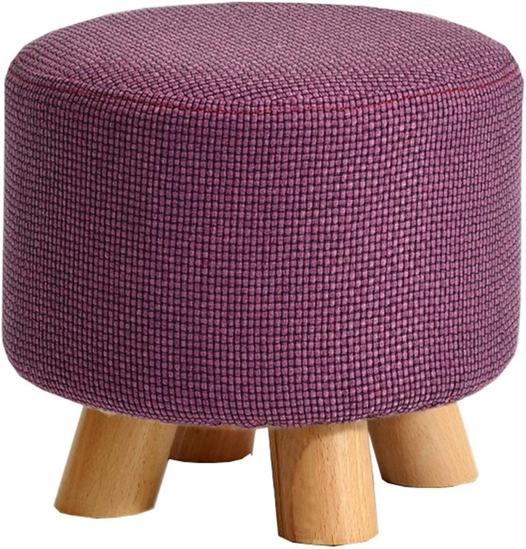 Solid Wood Stool Fashion Small Round Stool Creative Sofa Stool Fabric Stool Home Coffee Table Stool Change shoes Stool Purple