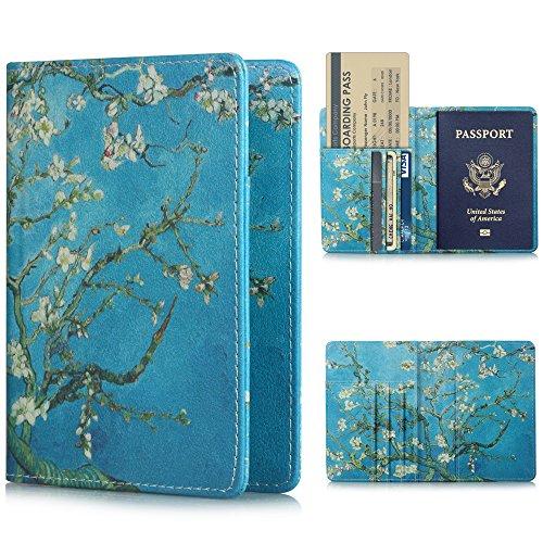 YMIX パスポートホルダー 旅行パスポートケース レザーケース 折りたたみ式レザー財布ケース パスポート スロット クレジットカード ビジネスカード 名刺 搭乗券ケース Boardingカード チケットが含まれる 軽量 便利 杏の花
