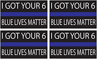 """4 Pack Thin Blue Line - Blue Lives Matter Flag Sticker 5x3"""" Decal Bumper Sticker Support Police and Law Enforcement"""
