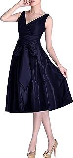 e603cb9d0bcc Adorona Formal Modest bridesmaids A-line V-neck Pleated Taffeta Tea Length  Bridesmaid Dress