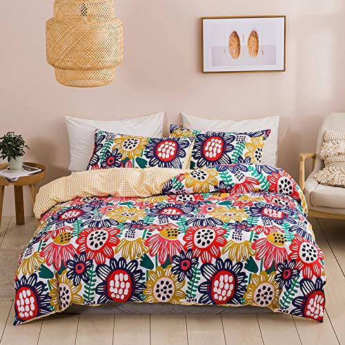 BH-JJSMGS Lightweight microfiber duvet cover with printed forest flower pattern, with zipper closure, bedding and pillowcase, US-Full: 200 * 230cm (three-piece) sun flower