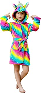 FuRobes Unisex Kids Unicorn Robes,Soft Flannel Hooded Bathrobe Sleepwear Shower Robe,Best Unicorn Gifts for Girls Robes