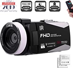 Camcorder 1080P FHD Video Camera Night Vision Video Camcorder with 270 Degree Rotation Screen and Remote Control Vlogging Camera for YouTube with 2 Batteries (V5I) (V5IA)