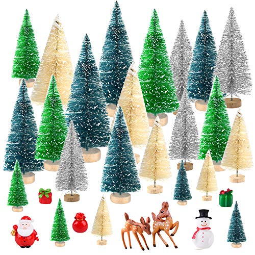 KUUQA 29 Pcs Mini Bottle Brush Trees Sisal Snow Frost Trees with Miniature Figures Snowman, Reindeer, Santa Claus, Box Winter Snow Ornaments for Christmas Decorations