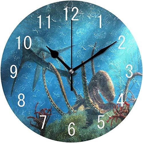 Thusjh Wall Clock Décor à La Maison Monde Sous Marin De Poulpe Kraken Récif De Corail Rond Acrylique Horloge Murale Non Ticking Horloge Silencieuse