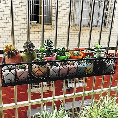ZUOANCHEN Wall Mounted Flower Stand, Fleur Stand Suspendus Racks Balcon Plante Creative Métal Fer Carré Croix Fleur Pot Pot Rack Floral Garde-corps Extérieur (taille : 60 * 25cm)