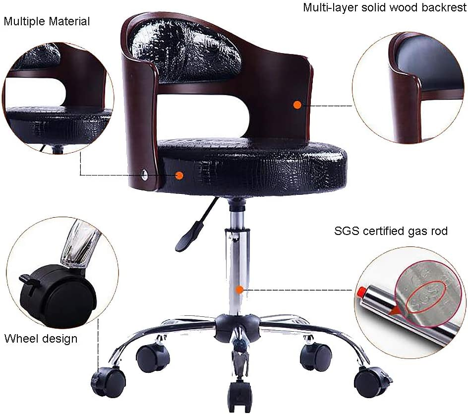 XM&LZ Bas du Dos Coton Chaise Pivotante, Bois Dossier Le Tabouret De Bar sans Accoudoir Heavy Duty Réglables Tabouret Chaise avec 360 Degrés Rotation Roue-e I