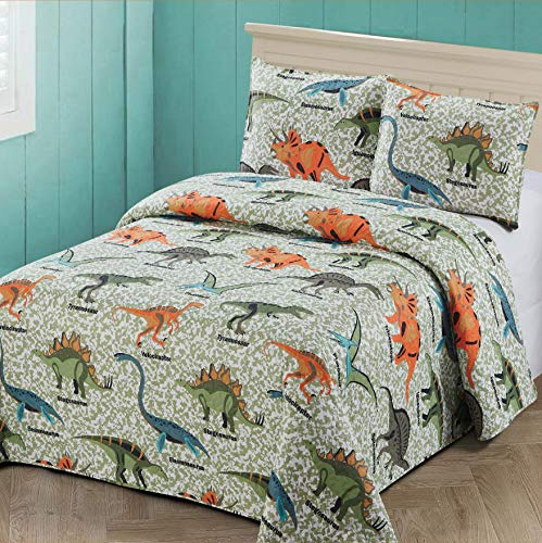 3 pc Full/Queen Size Quilt Bedspread Kids/Teens Boys Dinosaurs Army Green Blue OrangeMulticolor Bedding New