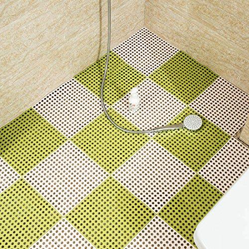 Levoberg 4 Pièces Tapis Antidérapant Salle de Bain en PVC Flexible Effet Massage Tapis de Sol Mosaïque Maison Piscine Blanc+Vert