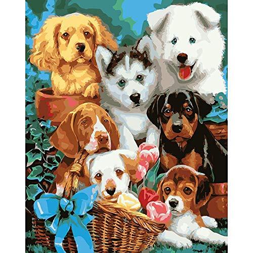 Pintura por número de Kit Molti cani animali Diy pintura al óleo dibujo Decoración de Navidad decoraciones regalos - 16x20 pulgadas Enmarcado