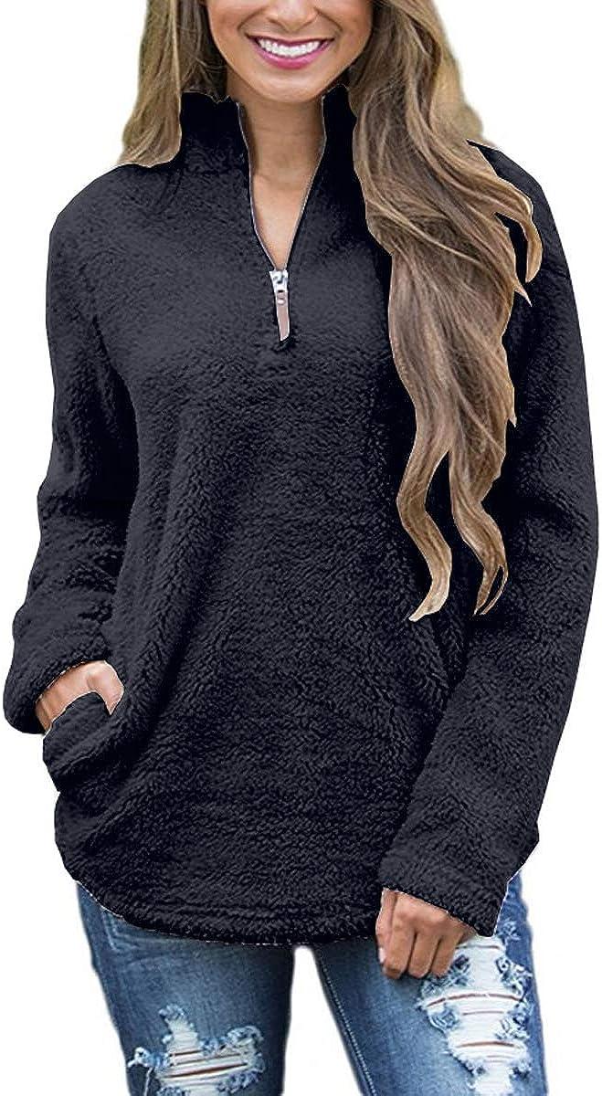 FOURSTEEDS 2021 Women's Casual Sherpa Fleece Pullover Fresno Mall Long 4 1 Zipper
