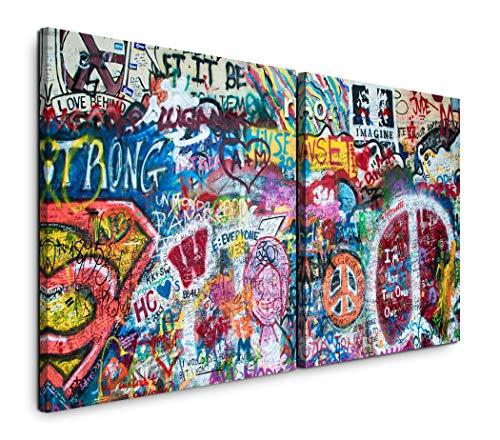 Paul Sinus Art GmbH Bunte John Lennon Wand in Prag 120x60cm - 2 Wandbilder je 60x60cm Kunstdruck modern Wandbilder XXL Wanddekoration Design Wand Bild