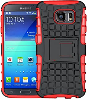 K-Xiang Samsung Galaxy S6 Case, (Armor Series) Heavy Duty Dual Layer Shockproof Silicone Phone Protective Case TPU Hybrid Kickstand Cover for Samsung Galaxy S6 (Red)