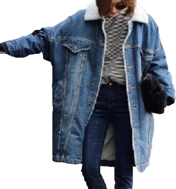 Hurrg Womens Lapel Fleece Lined Overcoat Thicken Loose Demin Jean Parka Jacket